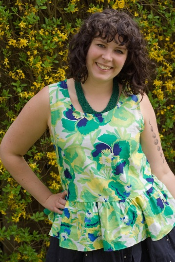 A top refashioned from a dress