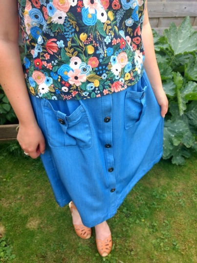A skirt refashioned from a dress